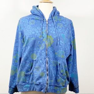 Fresh produce blue/green zip up hoodie 2X
